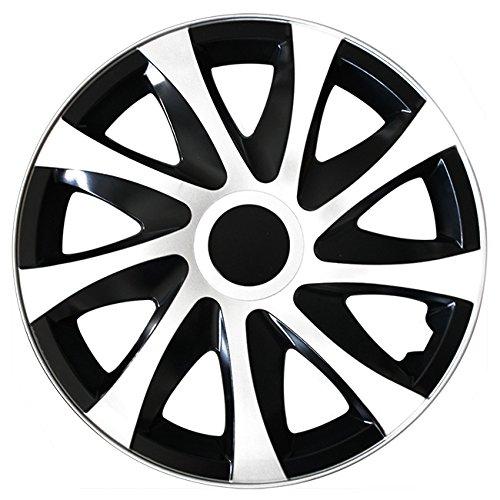 (Größe wählbar) 16 Zoll Radkappen / Radzierblenden DRACO Bicolor (Schwarz-Weiss) passend für fast alle Fahrzeugtypen – universal