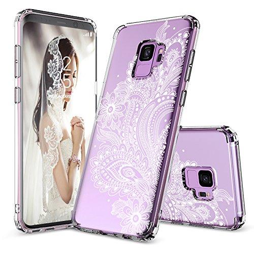 MOSNOVO Galaxy S9 Hülle, Paisley Henna Blumen Weiß Muster TPU Rahmen mit Hart Plastik Hülle Durchsichtig Schutzhülle Transparent für Samsung Galaxy S9 (2018), Galaxy S9 Case (Paisley Floral)