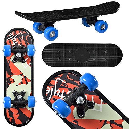 Mini-Skateboard von [pro.tec] Komplett-Board für Anfänger & Kinder bis 25 kg - 44x13x10 cm - blaue Rollen & schwarzes Deck im Retro-Design - flexibles Brett mit Kugellager-Aufhängung zum Skaten lernen - Motiv B: Freestyle