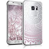 kwmobile Hülle für Samsung Galaxy S7 edge - Crystal Case Handy Schutzhülle Kunststoff - Backcover Cover klar Indische Sonne Design Rosa Weiß Transparent