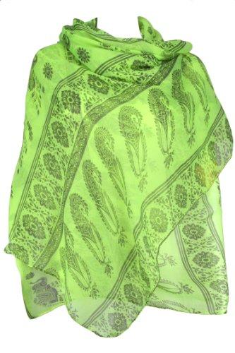 Evolatree - Echarpe Foulard Rectangulaire Châle Sarong Paisley - 187cm x 96cm Jaune Fluo & Gris