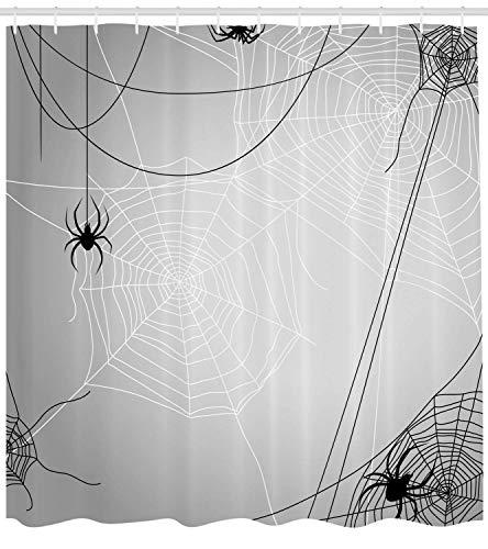 Spinnennetz Duschvorhang Spinnen hängen von Netzen Halloween inspirierte Design gefährliche Cartoon-Symbol Stoff Badezimmer Dekor Set mit lang schwarz weiß