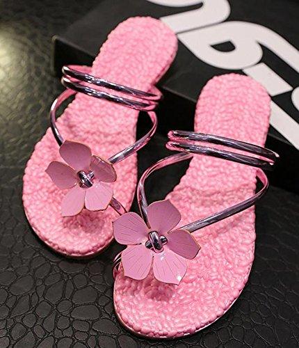 YOUJIA Bohême Beach Tongs Une Fleur Embellishment Flip Flops Sandales Femme pink