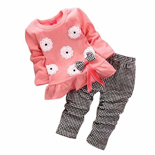 Sannysis Cute Baby-Mädchen Langarm-Blumen-Bogen-Hemd + Plaid Pant Set Kleidung (100(2-3Y), rosa)