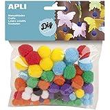 Apli 946035 - Pack de 78 pompones para manualidades, multicolor