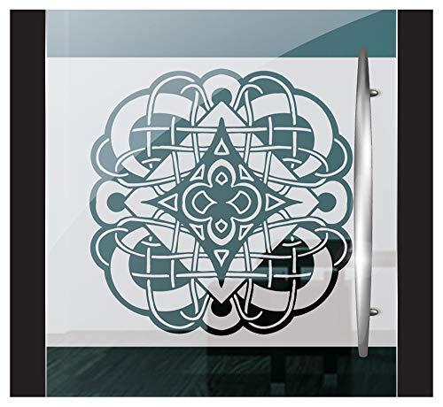 DD Dotzler Design 2802-4 Fensterfolie Sichtschutzfolie Milchglasfolie selbstklebend Gothic Ornament tribal Celtic Ritter Emblem (115 x 58 cm) Weiss