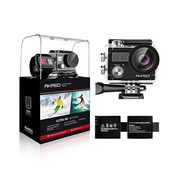 AKASO Brave 4 Action Camera, 4K HD 20MP Wifi Underwater 30m Eis Cam with Remote Control, Waterproof Case, 2 Rechargeable Batteries and Mounting Accessories Kit 51u1 2BqQxz L
