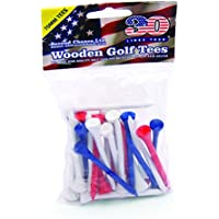 Second Chance 30 Wooden 7cm Golf Tees (Red, Blue and White)