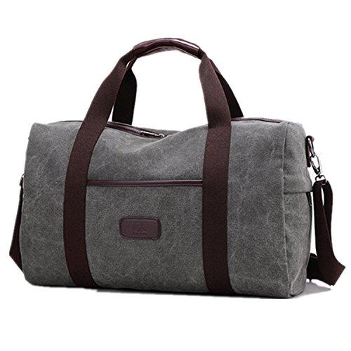 Weekender Bag Reisetasche TEAMEN Sporttasche Handtasche Canvas PU Leder Tasche Umhängetasche Schultertasche Henkeltasche 25L für Einkaufen Reisen Arbeit und Schule (grau)