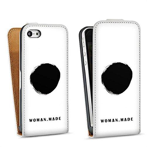 Apple iPhone 5s Housse Étui Protection Coque Cercle Noir Trou Sac Downflip blanc