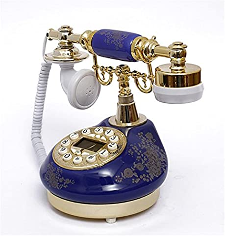 Xiuxiandianju Continental Pastoral style Ceramics Landline Vintage Antique Style Push Button Dial Desk Telephone Phone Home Living Room Office Decor Great Gifts , blue