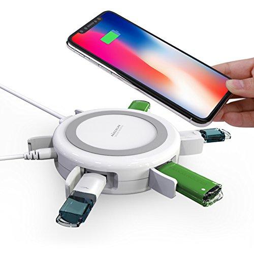 Wireless Charger, 3 in 1 Qi Wireless Ladegerät met USB 3.0 Hub netzteil Extender und Daten Sync, Induktions Ladestation für Samsung Galaxy S9/S8/S8+/S7/S7 Edge/S6 Edge Plus, iPhone X/8/8 Plus, HTC, LG und alle anderen Qi-fähigen Geräte