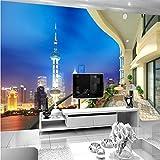 Mbwlkj Custom 3D Moderne Foto Hochwertiger Vliestapeten 3D-Nacht Balkon Fernseher Sofa Wandbild Tapeten Für Betten Zimmer-300Cmx210Cm