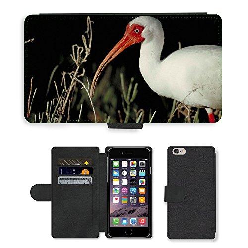 Just Mobile pour Hot Style Téléphone portable étui portefeuille en cuir PU avec fente pour carte//m00139140Alba eudocimus Oiseaux partie Corps Blanc//Apple iPhone 6Plus 14cm