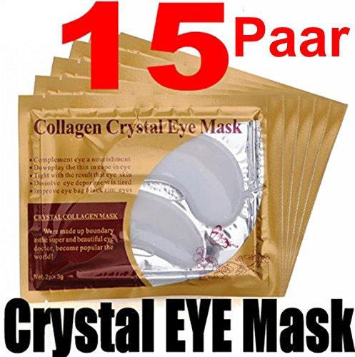 15 Paar Collagen Crystal Eye Mask - Anti-Falten Augenpads gegen Tränensäcke mit Hyaluronsäure!!! Beste Qualität von Schlupflid weg - Collagen Eye