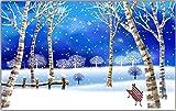 WH-PORP 3D Tapete Traum Schnee Szene Winter Birkenwald Tv 3D Hintergrund Wand-350cmX245cm