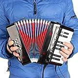 Angela Mini-Kinder-Knopfakkordeon, 10-Tasten-Steuerung, 3 Bässe, leicht zu Spielen, Spielzeug für Kinder-Instrumentenbänder, für die frühe Kindheit, schwarz