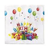 40 Design Servietten Happy Birthday mit Geschenken und Luftballons 33x33cm mit Aufdruck Tissueservietten Serviette Themenabend Papierservietten