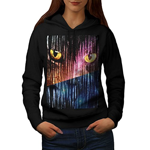 Les yeux Animal Fantaisie Chat Femme S-2XL Sweat à capuche | Wellcoda Noir