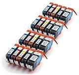 20 kompatible Druckerpatronen mit CHIP und Füllstandsanzeige für Canon Pixma IP4850 IP4950 IX6550 MG5150 MG5250 MG5350 MG6150 MG6250 MG8150 MX885, MX715, MX895 kompatibel zu PGI-525, CLI-526BK, CLI-526C, CLI-526M, CLI-526Y. Sie erhalten 4 x schwarz (525BK) 4 x schwarz (526BK) 4 x cyan (526) 4 x rot (526M) 4 x yellow (526Y)