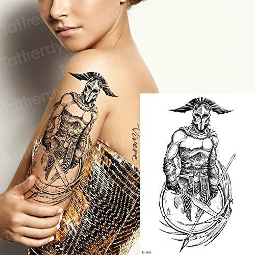 �towierung Aufkleber männlich Samurai Tattoos Skizzen Tattoo Designs Gothic Tattoo griechische Götter Mythologie Arm Ärmel Tattoo schwarz ()