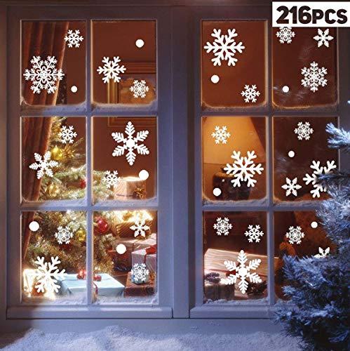 Vijamiy 108 Schneeflocken Fensterbild für Winter und Weihnachten Fensterdeko Set Statisch PVC Aufkleber Winter Dekoration Fensterbilder für Weihnachten Schneeflocken mit Fensterdeko
