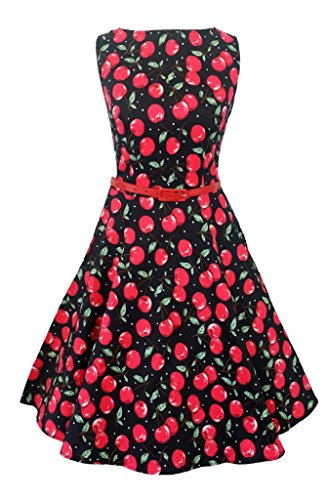 New Vintage 1950er Stil Cherry Print Swing Kleid Gr. 52, Black with Red (Dot Polka Kleid Red Plus Size)