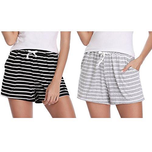 Hawiton Damen Schlafanzughose Pyjamahose Kurz Baumwolle Gestreift Shorts Nachtwäsche Sleep Hose Pants (Schwarz&Grau, Large)