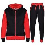 A2Z 4 Kids® Kinder Trainingsanzug Mädchen Jungen Designer Plain Kontrast - T.S Plain 101 Red 13