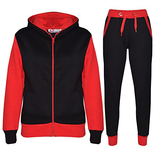 A2Z 4 Kids® Kinder Trainingsanzug Mädchen Jungen Designer Plain Kontrast - T.S Plain 101 Red 11-12
