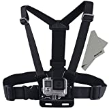 Aodoor adjustable Chest Mount Harness Elastic Body Shoulder Chest Mount Harness Strap Belt for Gopro Hero 1 2 3 3+ 4 Sprots Camera Sjcam Sj4000 Sj5000 Sj5000+ with cloth(black)
