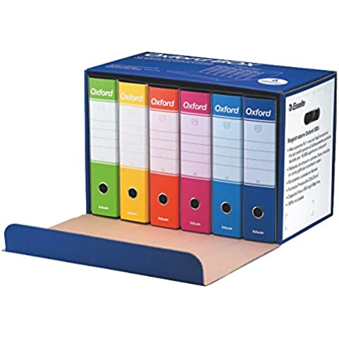 Esselte Oxford Box 390785110 6 Raccoglitori Oxford con Scatola, Formato Protocollo, Cartone, Dorso 8 cm per Raccoglitore,
