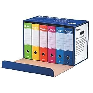Esselte Oxford Box, 6 Raccoglitori Oxford con scatola, Formato Protocollo, Cartone, Dorso 8 cm, Multicolore, 390785110