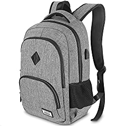 Laptop backpack, men's business backpack for 15.6 inch laptop school backpack with USB charging port for work hiking travel camping, for men, Oxford, 20-35L - gray