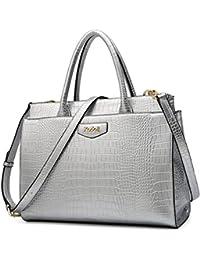 Kadell Damen Leder Designer-Handtaschen mit Krokoprägung Umhängetasche Schulranzen für Damen