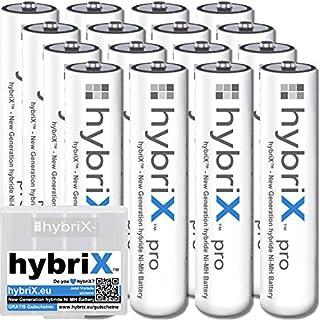 kraftmax 16er Pack hybriX pro Set - 16x Micro AAA Hybrid Akkus in Box - Die Neue Generation von Hybrid Akku Batterien