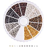 Pandahall Boîte d'environ 3000 perles à écraser en laiton 6couleurs 2mm Trou de 1,2mm