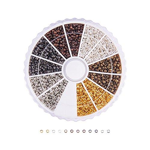 PandaHall 3000 Stück Messing Metall Spacer Perlen 6 Farben 2mm für DIY Quetschperlen