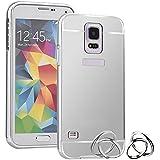 Semoss Premium Espejo Funda Aluminio Carcasa Case para Samsung Galaxy S5 i9600 i9605 Ultra Thin Mirror Efecto Metal Bumper Hardcase Shell Cover - Silver