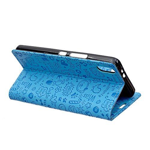 iPhone X Coque, Voguecase Étui en Cuir Véritable Chic avec Fonction Support Pratique pour Apple iPhone X (Motif de crocodile-Marron clair)de Gratuit stylet l'écran aléatoire universelle Fille Magique-Bleu