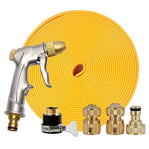 Plat Flexible 1/5,1 cm Fixation en laiton pour tuyau d'arrosage de jardin connecteur adaptateur de robinet avec pistolet vaporisateur 65Ft