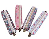 Hosaire 4Pcs Trousse à Crayon Vintage Petite Fleur Sac à Stylo Mignonne Trousse Scolaire Stylo Sac de Rangement pour Scolaire
