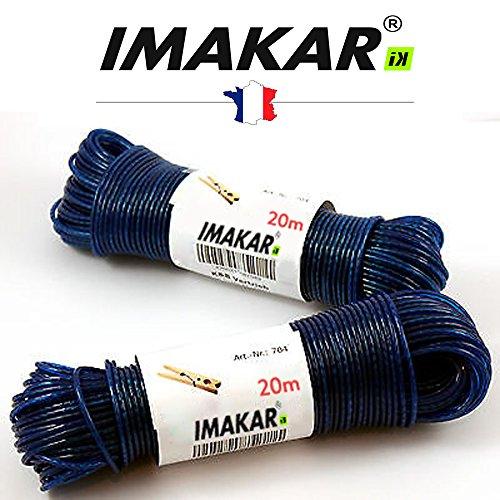 IMAKAR® Corde à linge en acier 20M X 2,6 mm (BLEU). Une corde à étendre très robuste et résistante aux conditions météorologiques