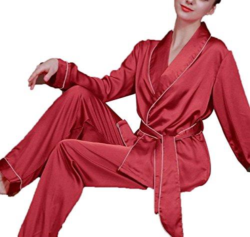 Mme Printemps Et D'automne Pantalons à Manches Longues Pyjamas red