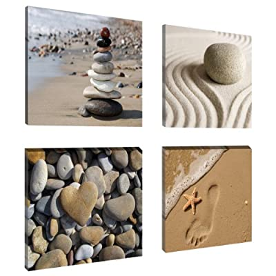 "Picture – art on canvas Wellness 4 x 8 x 8"", four-part parts model no. XXL 6902 Pictures completely framed. Art print Images realised as wall picture on real wooden framework. A canvas picture is much less expensive than an oil painting poster or placard."