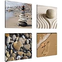 Visario 6902 - Juego de fotografías sobre lienzo (4 unidades, 4 x 20 x 20 cm), diseño de piedras y arena