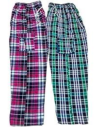 U P Khadi and Handloom Unisex Cotton Night Pant (UPKHBTM01CH_Multicolour_40)
