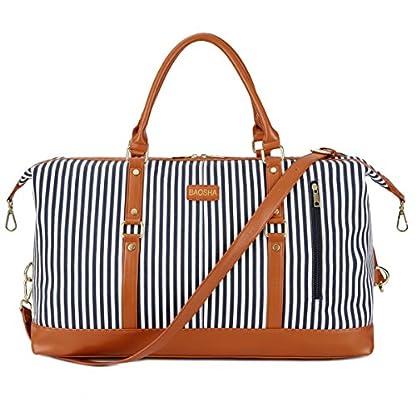 BAOSHA-HB-14-bergroe-Canvas-Reisetasche-Frauen-Damen-Travel-Duffel-Bag-Carry-On-Bags-Segeltuch-Handgepck-Weekender-Tasche-fr-Kurze-Reise-am-Wochenend-Urlaub-mit-Gestreift