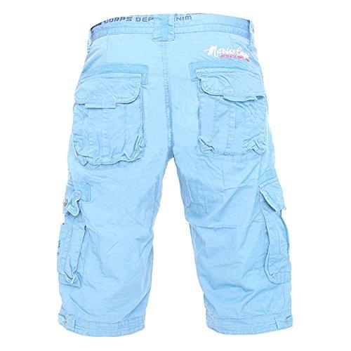 ArizonaShopping - Shorts Herren Cargo Shorts 3/4 Bermuda Capri Hose H1801,Blau-2,W33