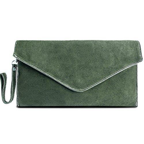 Miss Lulu Borsetta donna,piccolo,borsa messenger,pelle scamosciata, elegante Verde